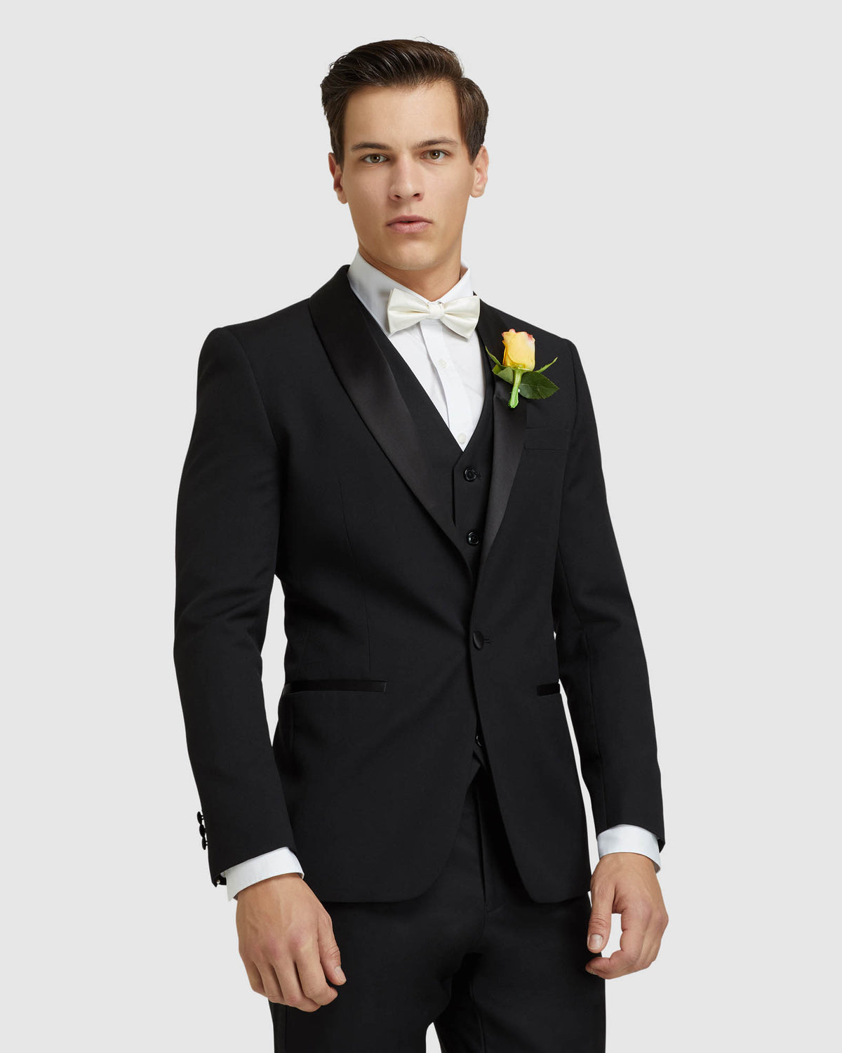 DINNER SUIT JACKET WITH SHAWL NECK BLACK