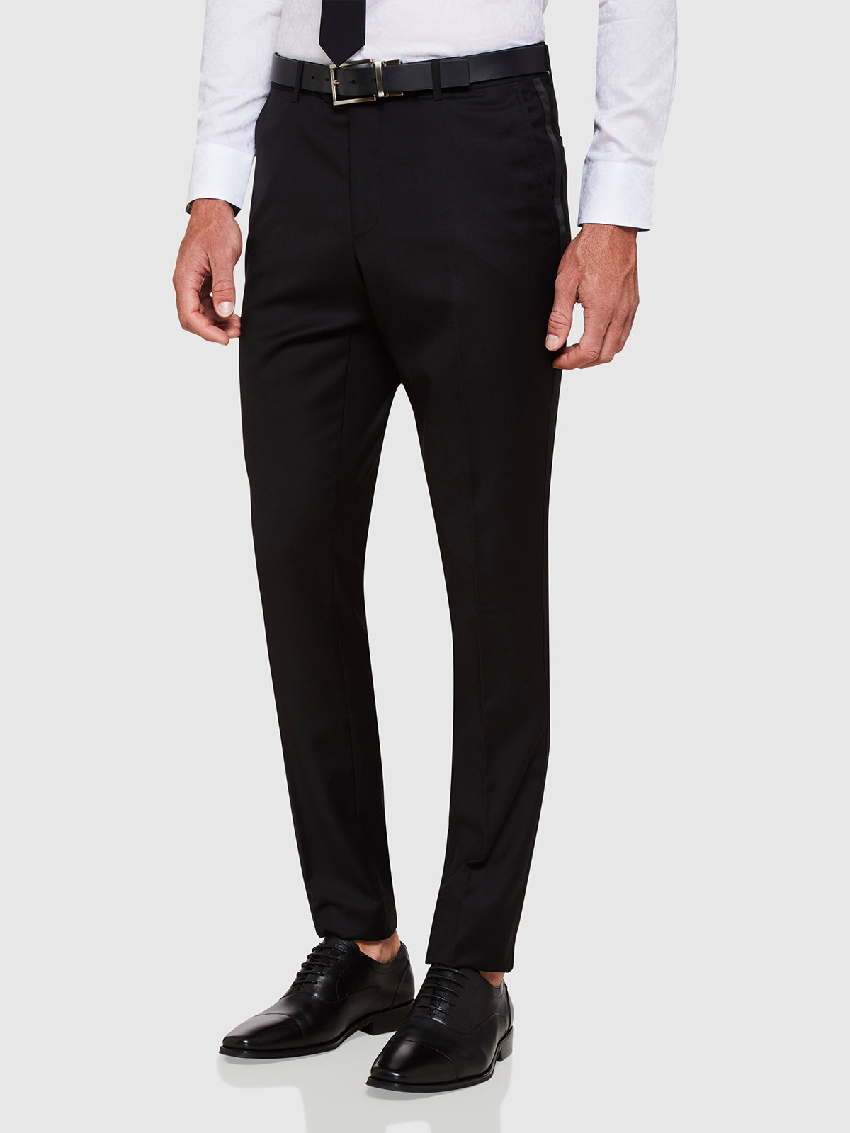 DINNER SUIT TROUSERS W/SATIN TAPE BLACK