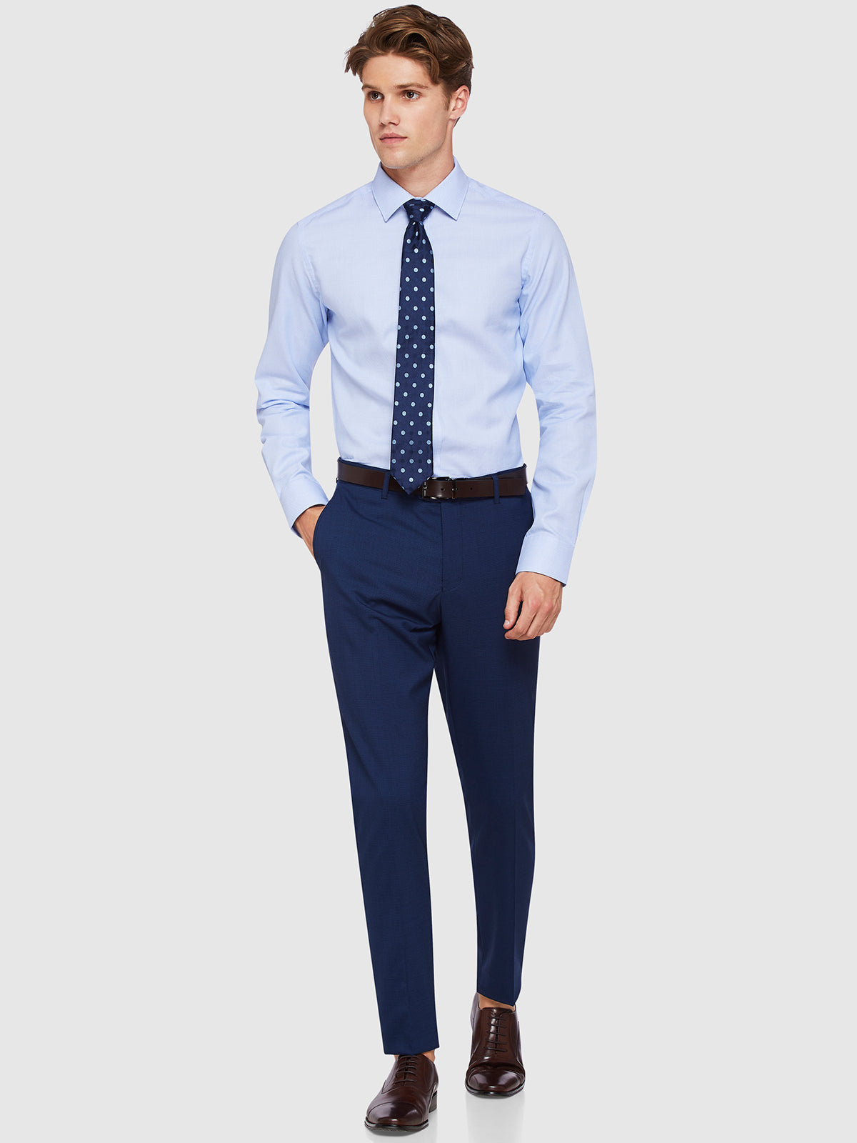 MARLOWE WOOL SUIT TROUSERS NAVY