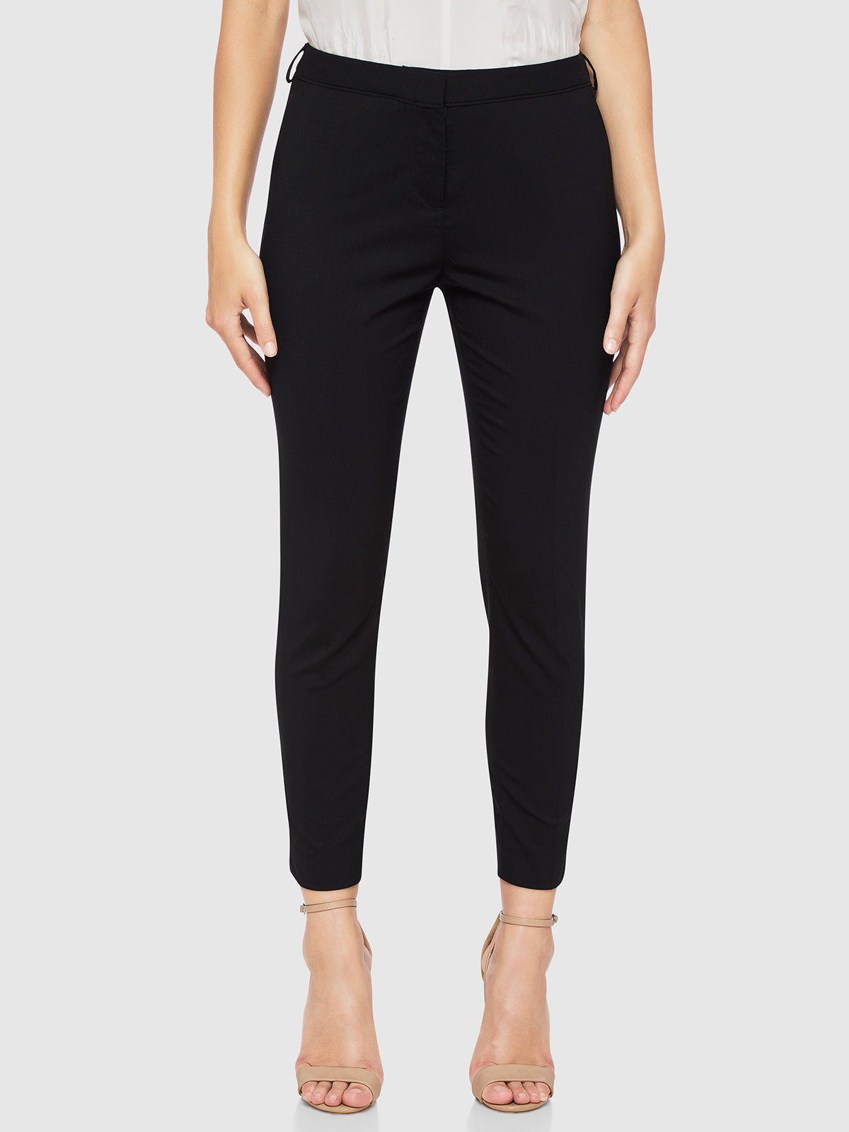 MIA WOOL STRETCH SUIT TROUSERS BLACK