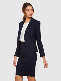PIXIE WOOL STRETCH SUIT JACKET NAVY