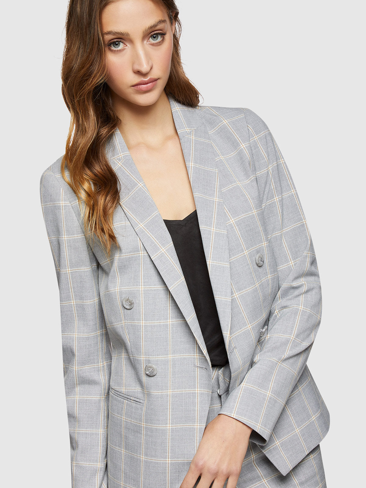 CAMILLA CHECK SUIT JACKET GREY CHECK