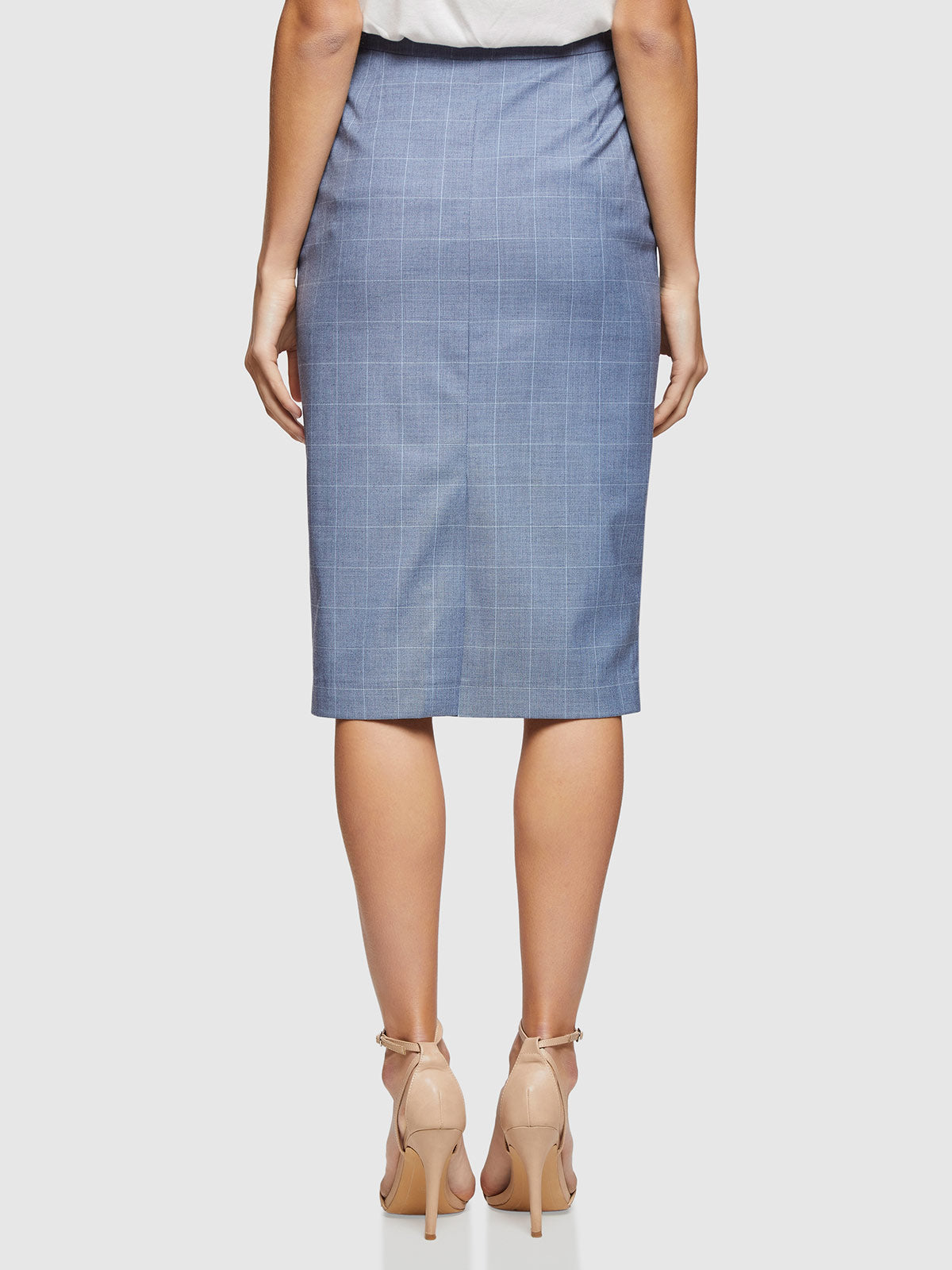 PEGGY CHECK SUIT SKIRT BLUE CHECK
