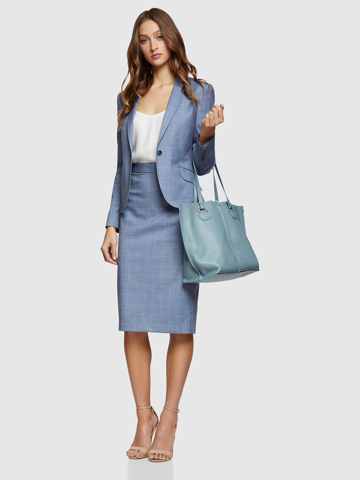 PEGGY SUIT SKIRT BLUE CHECK