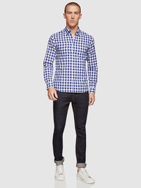 STRATTON CHECKED SHIRT NAVY
