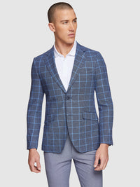 BLAKE LINEN COTTON CHECKED BLAZER