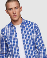 STRATTON CHECKED SHIRT FRENCH BLUE