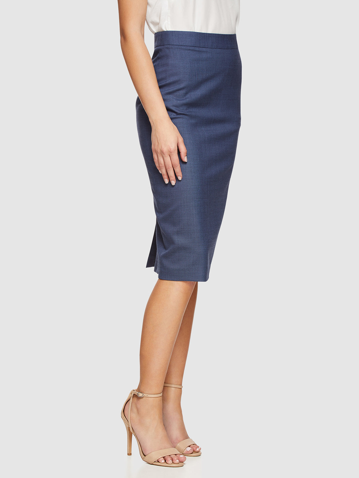 PEGGY WOOL STRETCH SUIT SKIRT BLUE