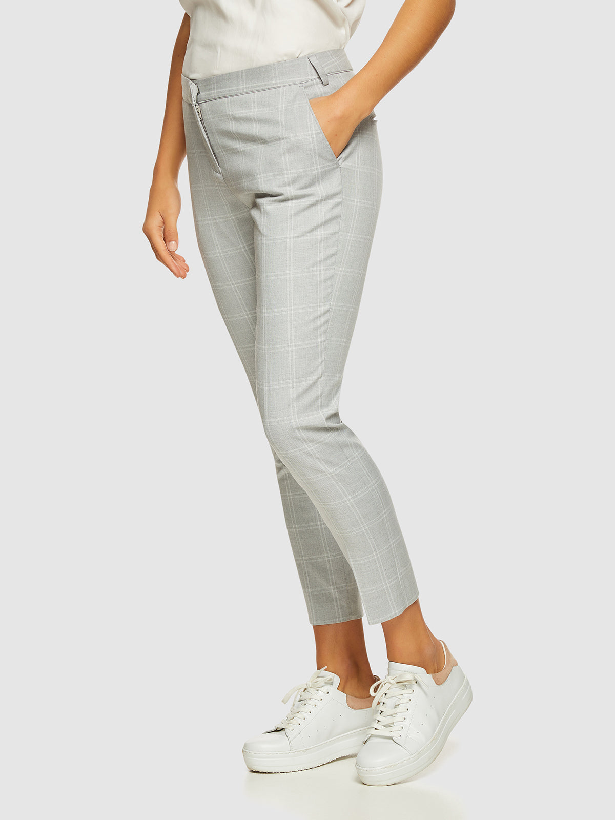 MIA CHECK SUIT TROUSERS GREY CHECK