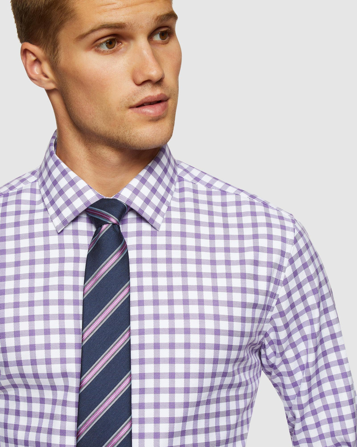 BECKTON FRENCH CUFF CHECKED SHIRT PURPLE
