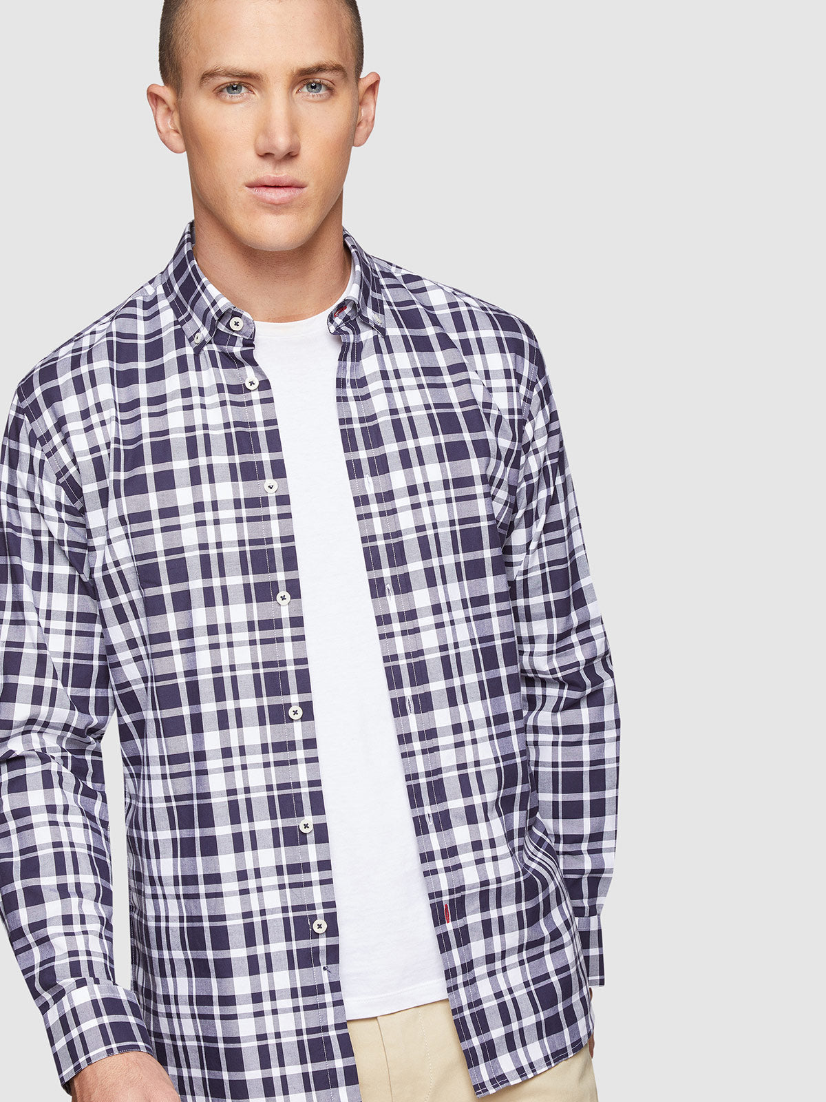 STRATTON CHECKED REGULAR FIT SHIRT NAVY