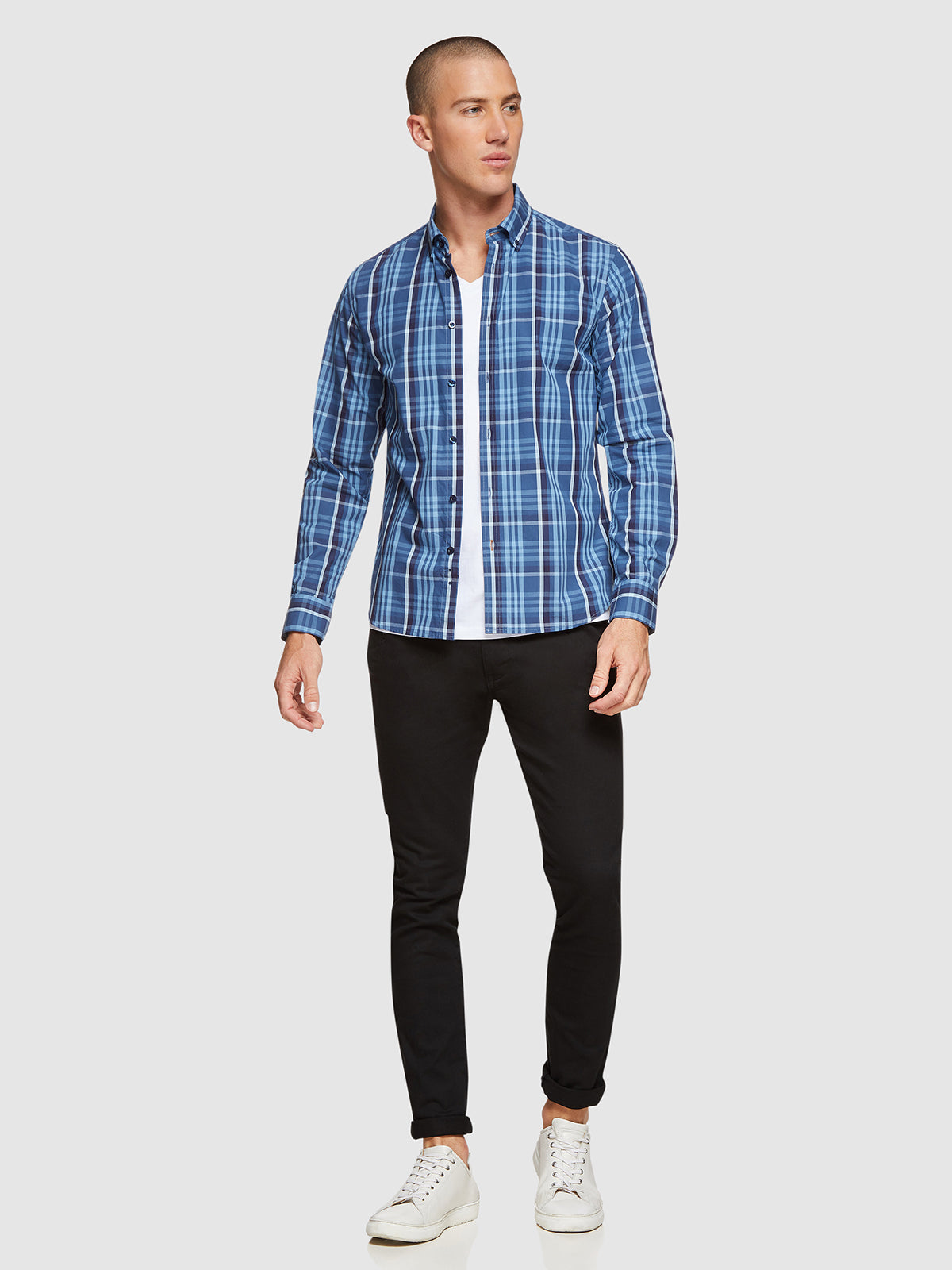 STRATTON CHECKED SHIRT PETROL BLUE