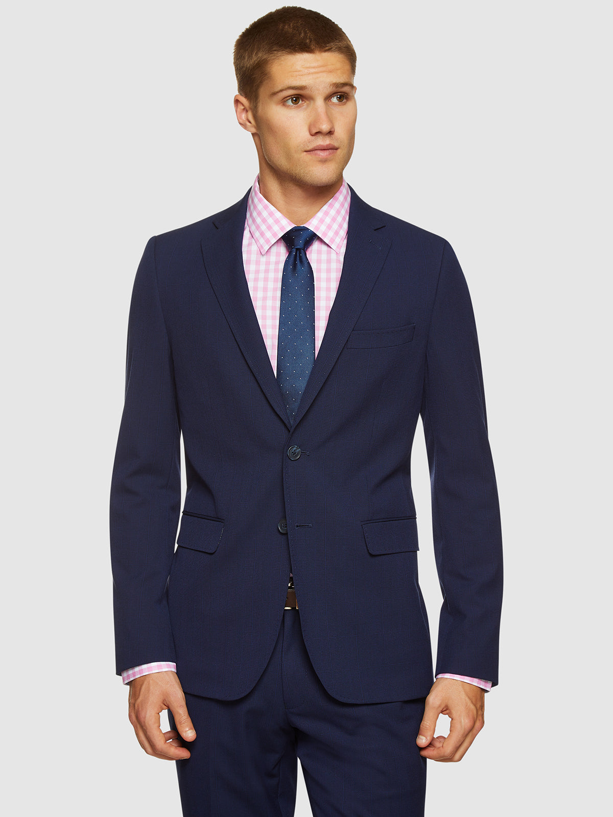 AUDEN ECO CHECKED SUIT JACKET NAVY