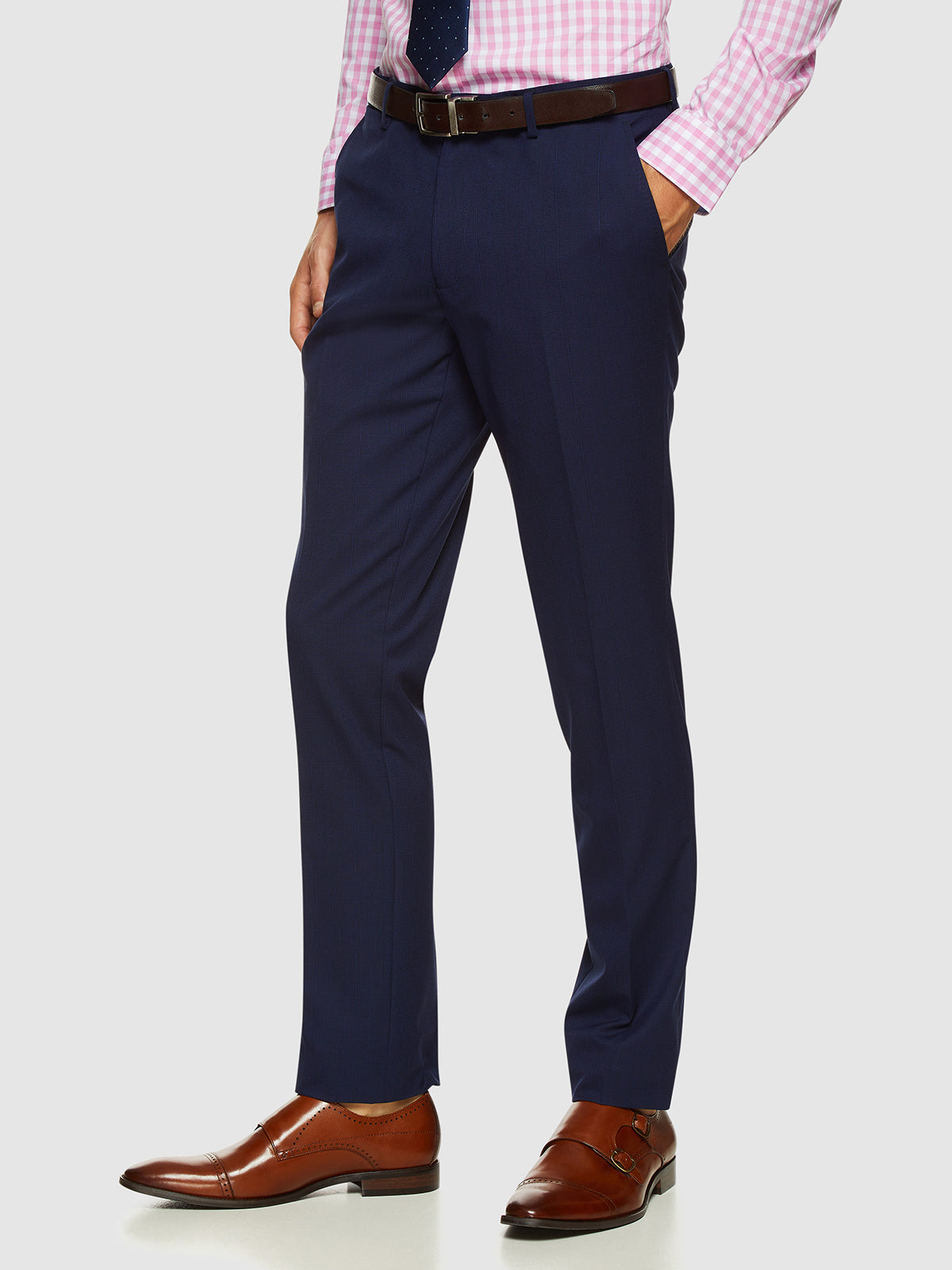 AUDEN ECO CHECKED SUIT TROUSERS NAVY