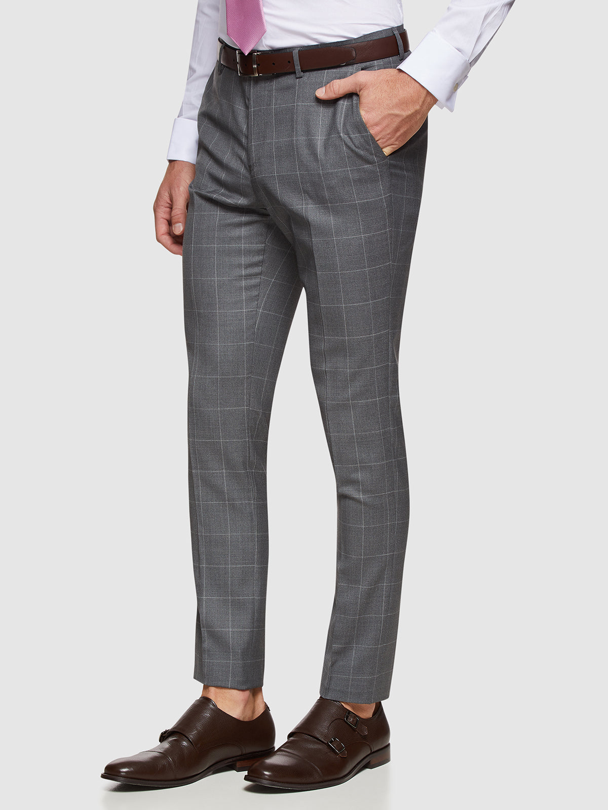 BYRON WOOL STRETCH CHECKED TROUSERS GREY