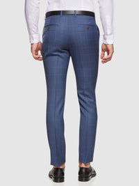 HOPKINS WOOL STRETCH CHECK TROUSERS PETROL BLUE