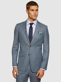 N.HOPKINS WOOL STRETCH CHECK JACKET PALE BLUE