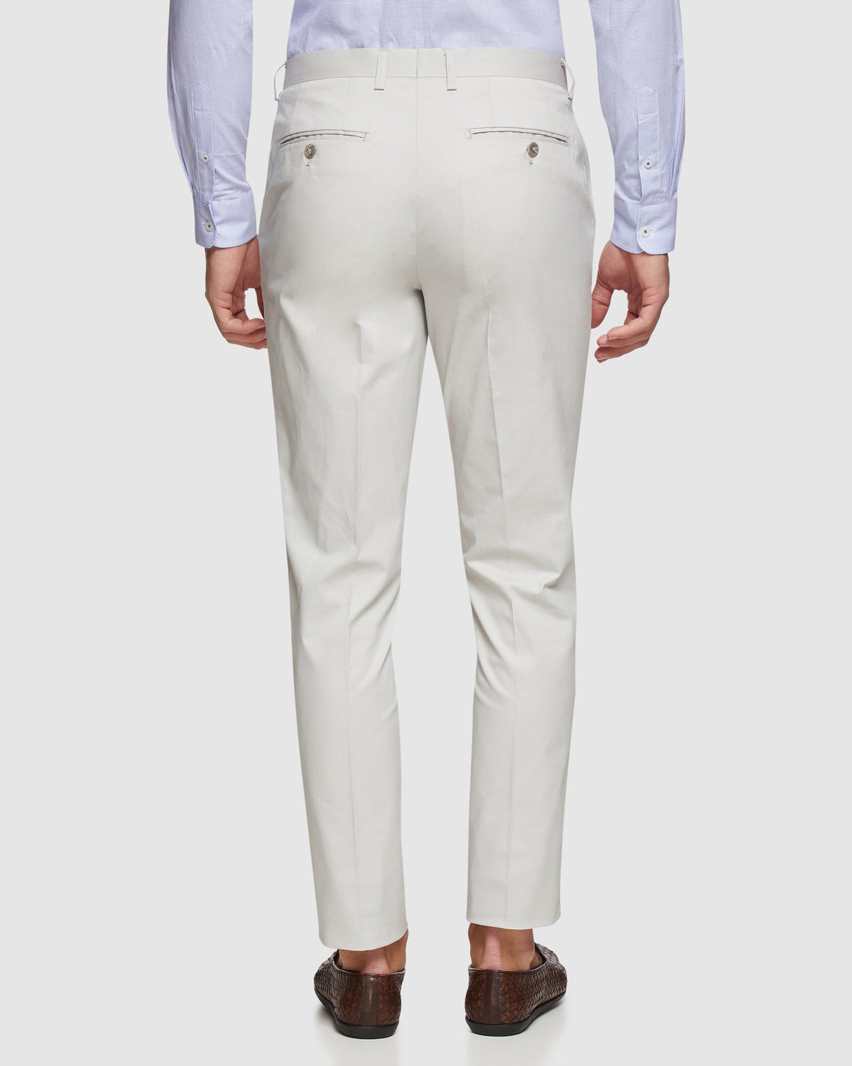 BYRON COTTON STRETCH SUIT TROUSERS SILVER