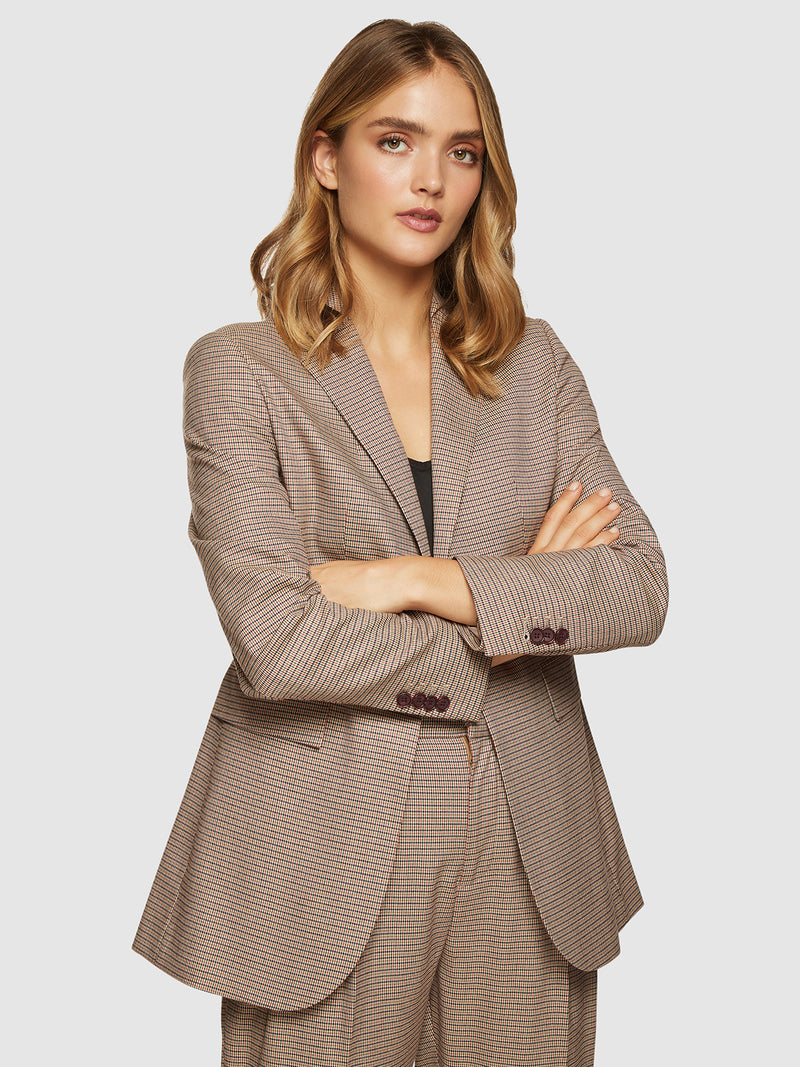 LOLA ECO CHECKED BLAZER CAMEL