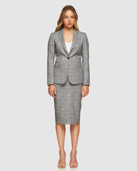 PEGGY ECO CHECKED SUIT SKIRT GREY CHECK