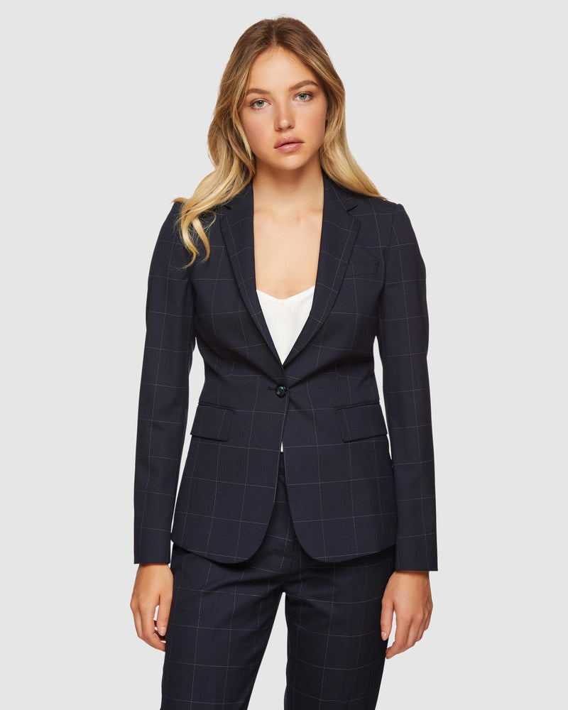 ALEXA ECO CHECKED SUIT JACKET NAVY CHECK