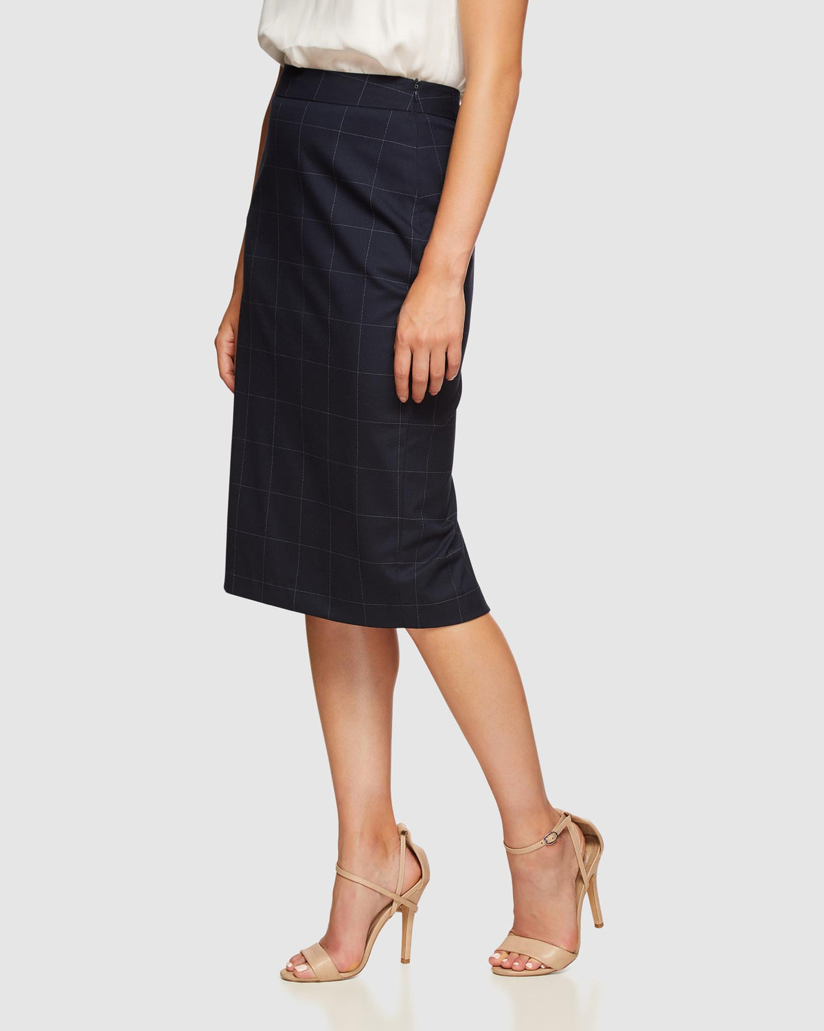 PEGGY ECO CHECKED SUIT SKIRT NAVY CHECK