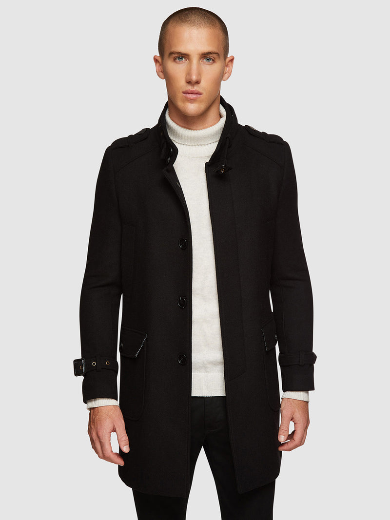 ROGER TWILL OVERCOAT BLACK
