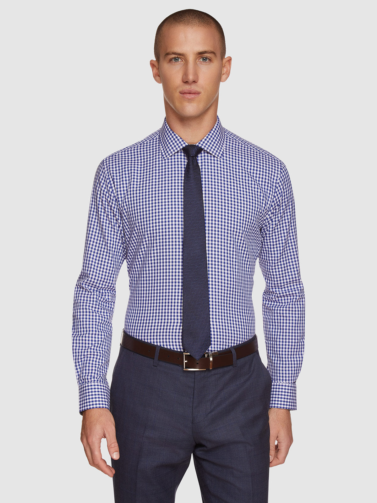 ISLINGTON TWILL CHECKED SHIRT FRENCH BLUE