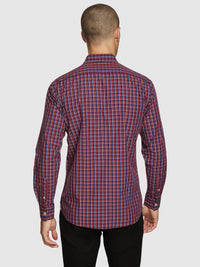 STRATTON REGULAR FIT CHECKED SHIRT RED