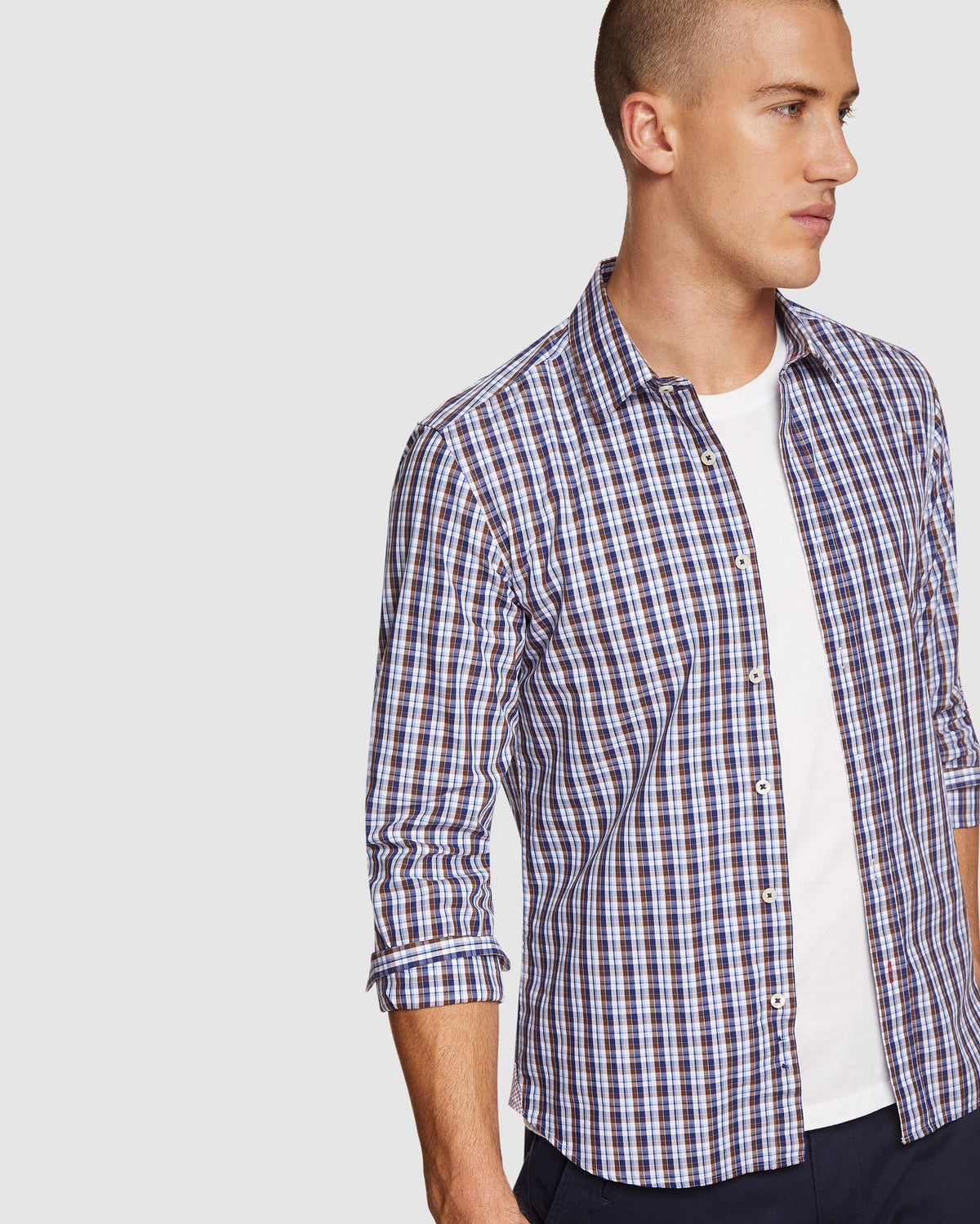 KENTON CHECKED SHIRT BROWN/NAVY