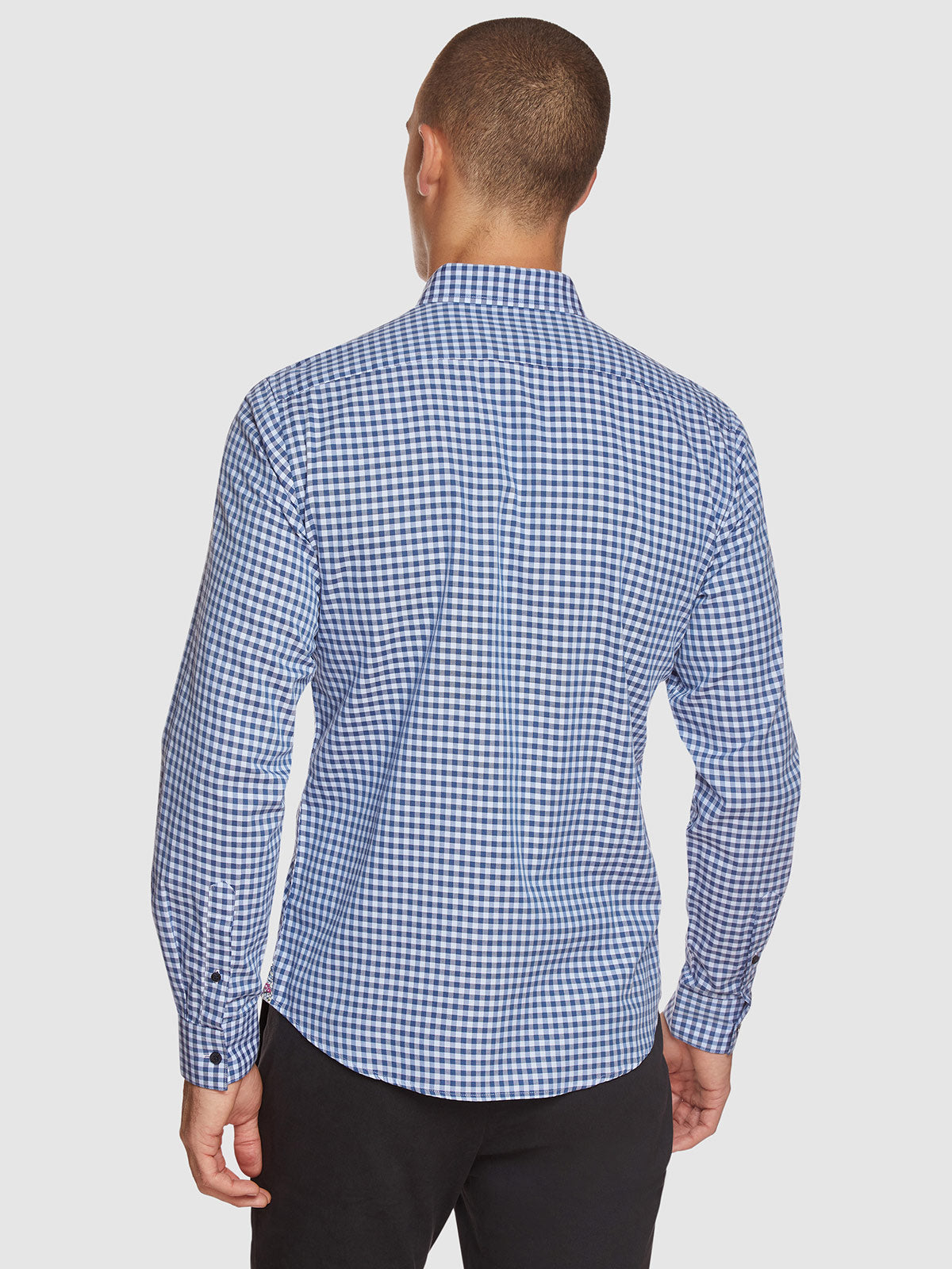 STRATTON TWILL CHECKED SHIRT PETROL BLUE