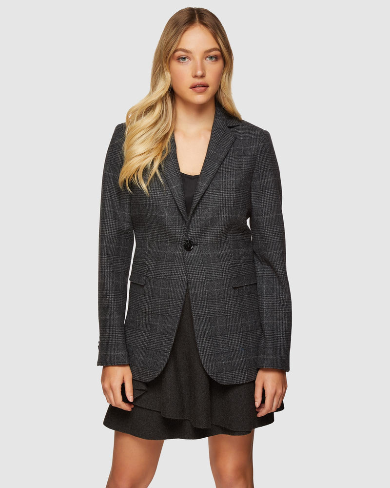 LOLA CHECKED BLAZER CHARCOAL
