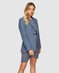LOLA HOUNDSTOOTH BLAZER BLUE/GREY