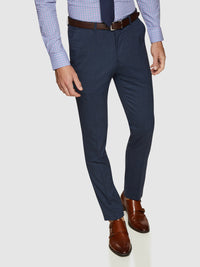 BYRON WOOL STRETCH SUIT TROUSERS PETROL BLUE