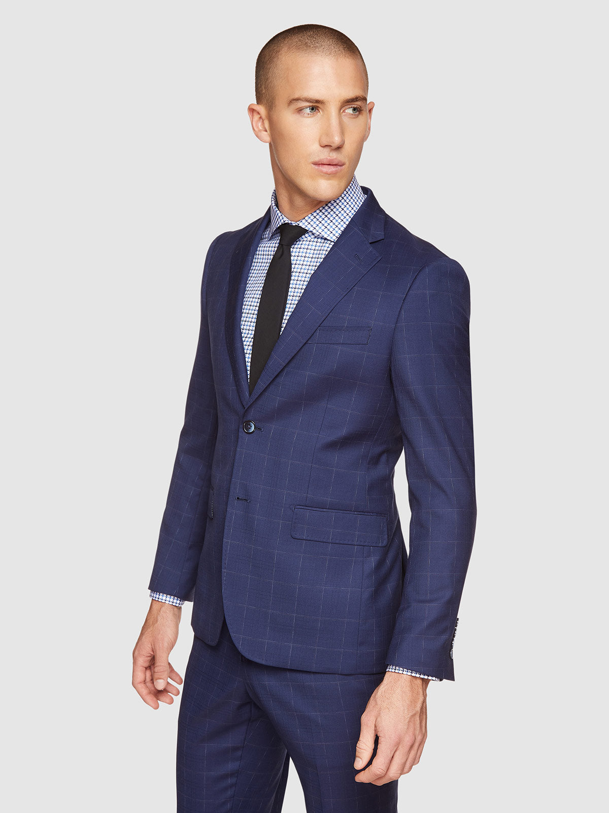 BYRON WOOL STRETCH CHECKED JACKET