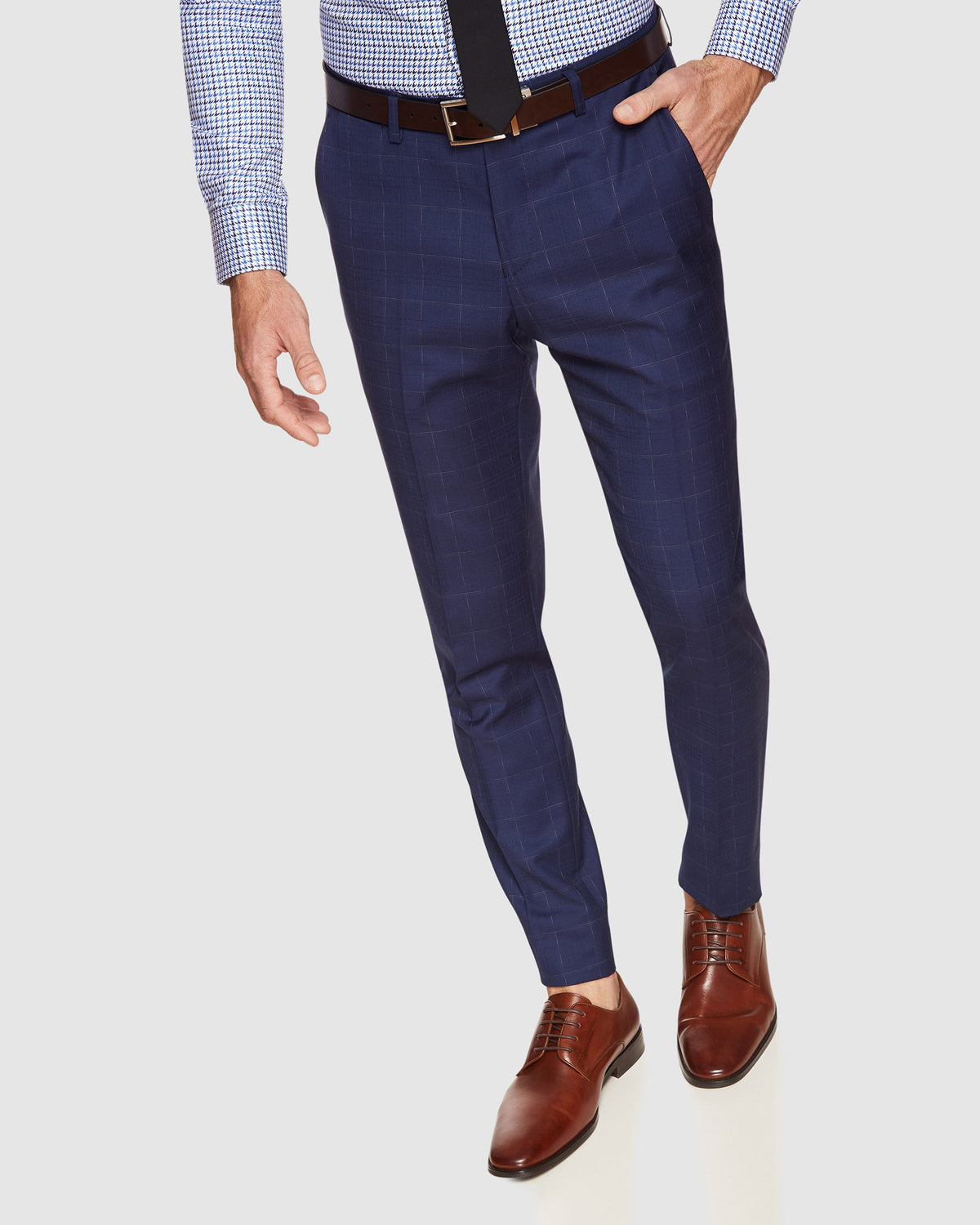 BYRON WOOL STRETCH CHECK TROUSERS