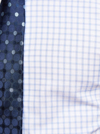 TRAFALGAR DOBBY CHECKED SHIRT BLUE/WHITE