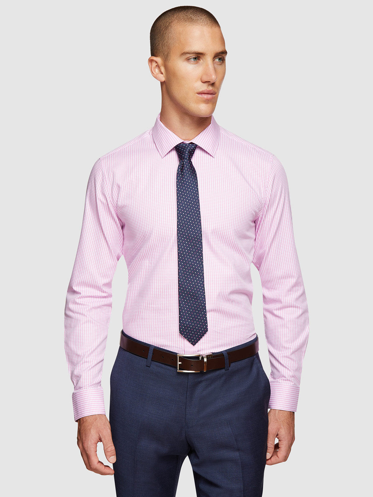 BECKTON DOBBY CHECKED SHIRT PINK