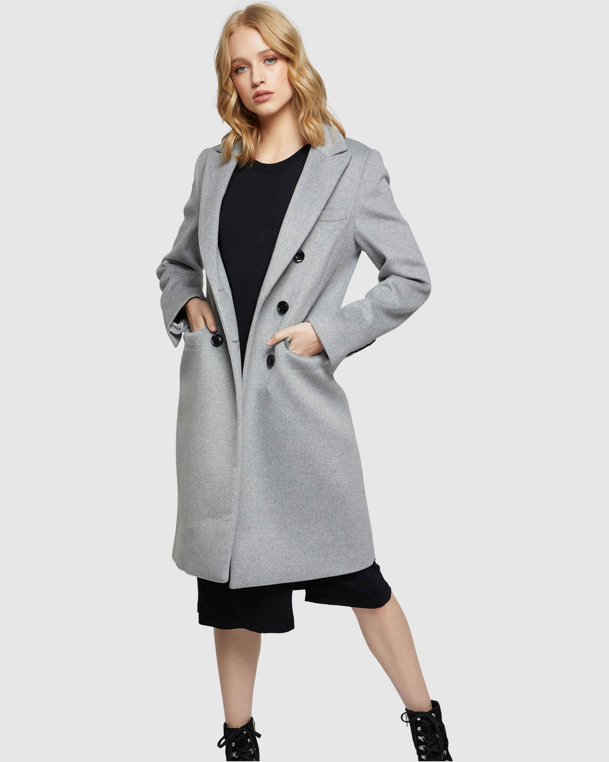 BEXLEY DOUBLE BREASTED COAT GREY