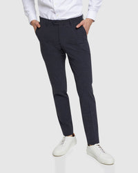 STRETCH CHECKED TROUSERS NAVY CHECK