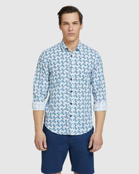 KENTON LINEN COTTON FLORAL SHIRT WHITE/AQUA