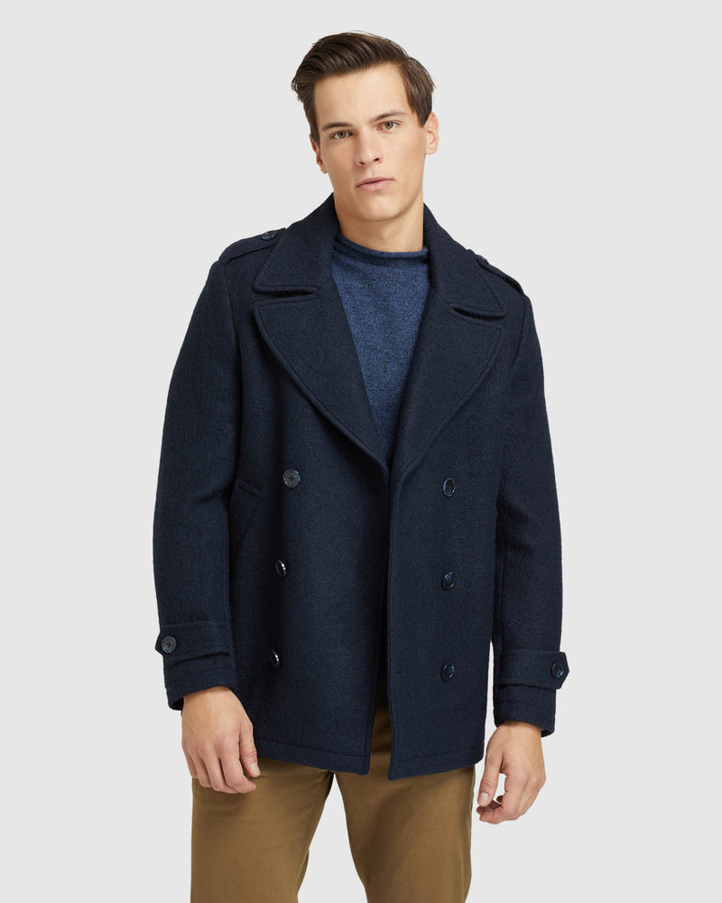 HENRY KNITTED PEA COAT PETROL