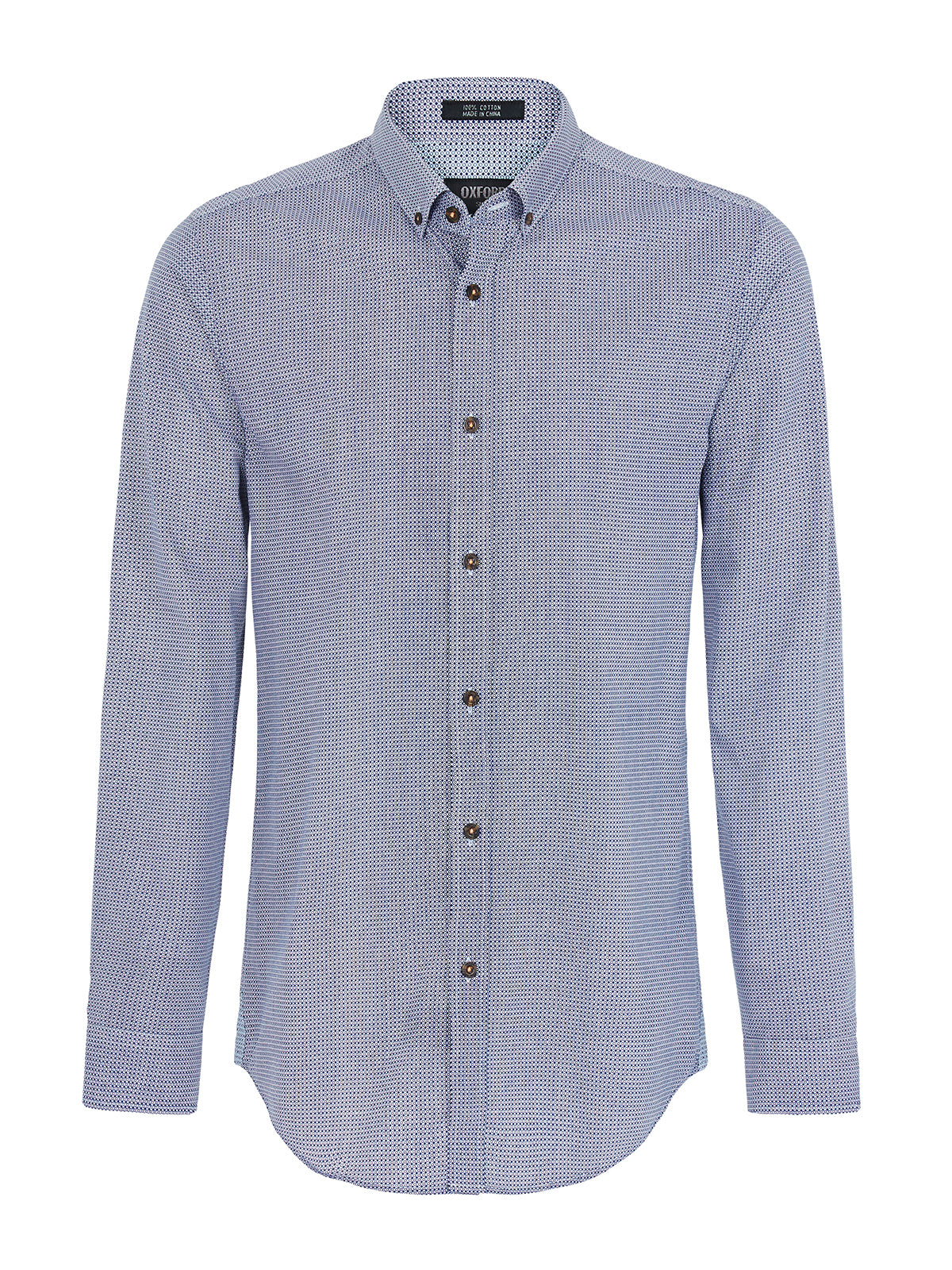 STRATTON PRINTED SPOT SHIRT BLUE