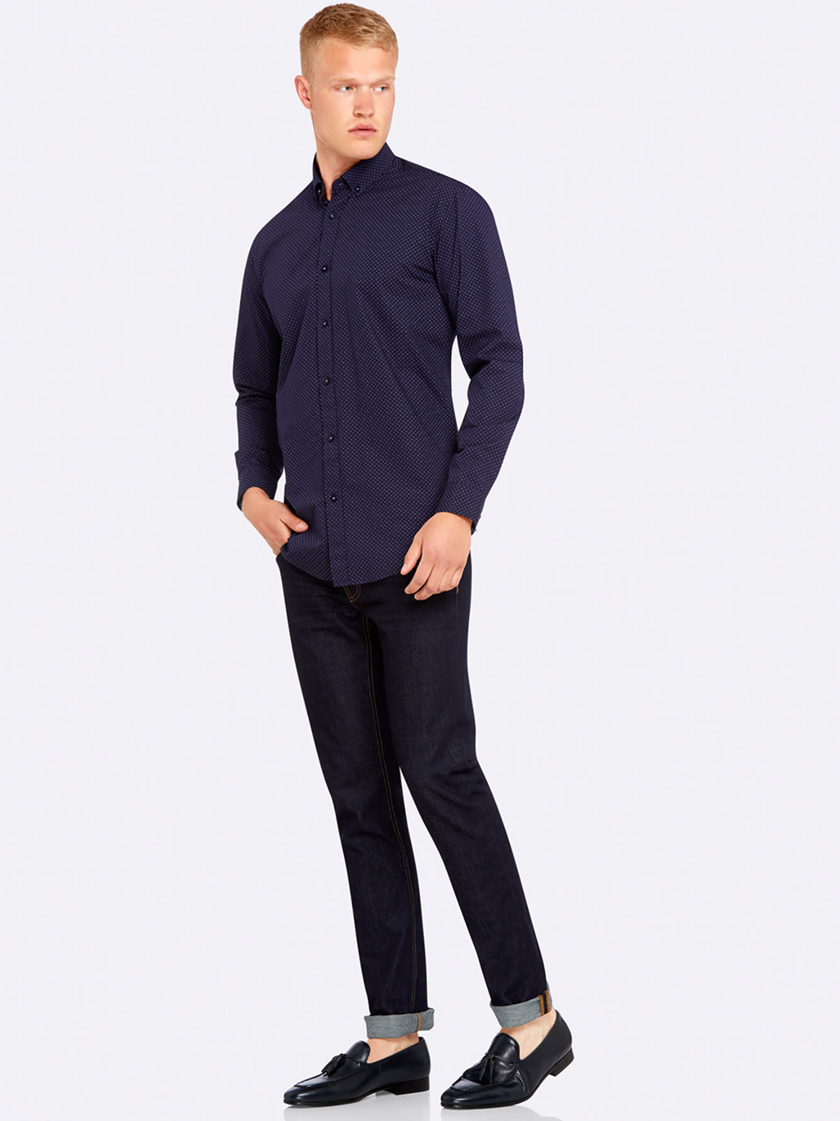 STRATTON PRNTD REGFIT SHIRT BLUE