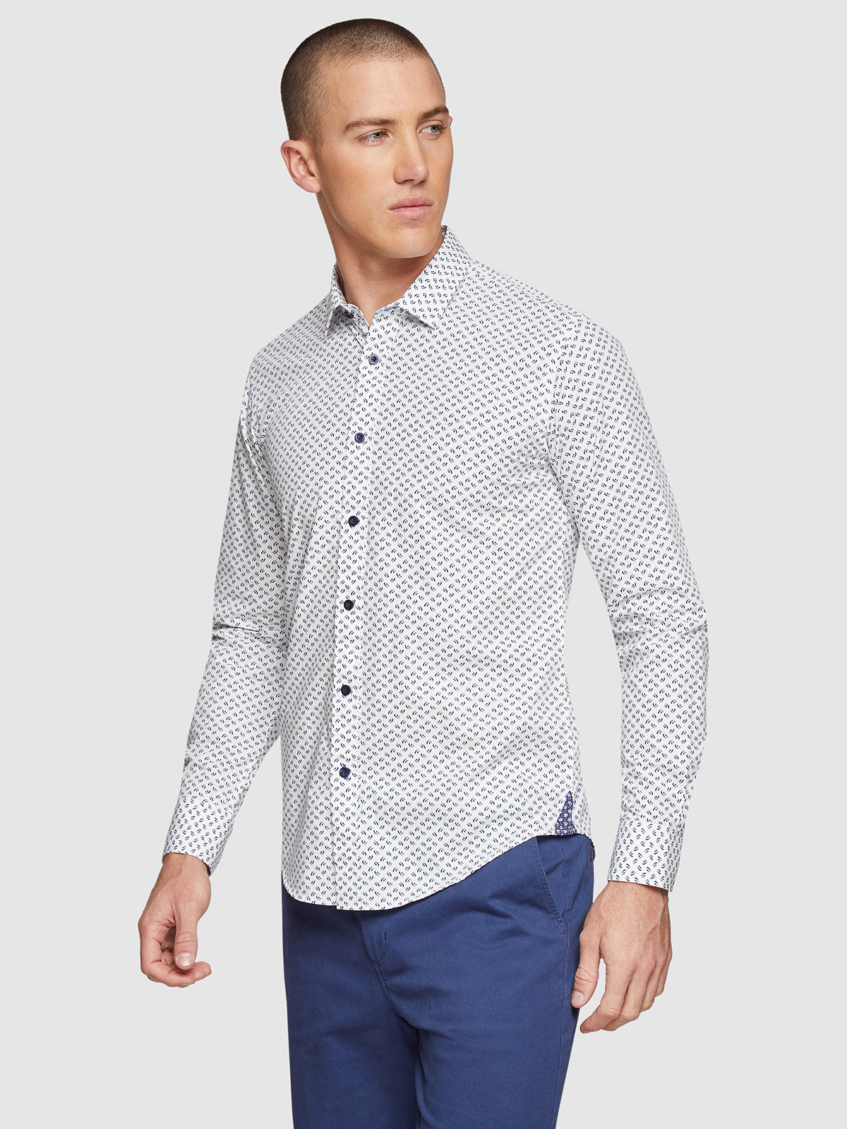 KENTON PRINTED SHIRT WHITE/NAVY