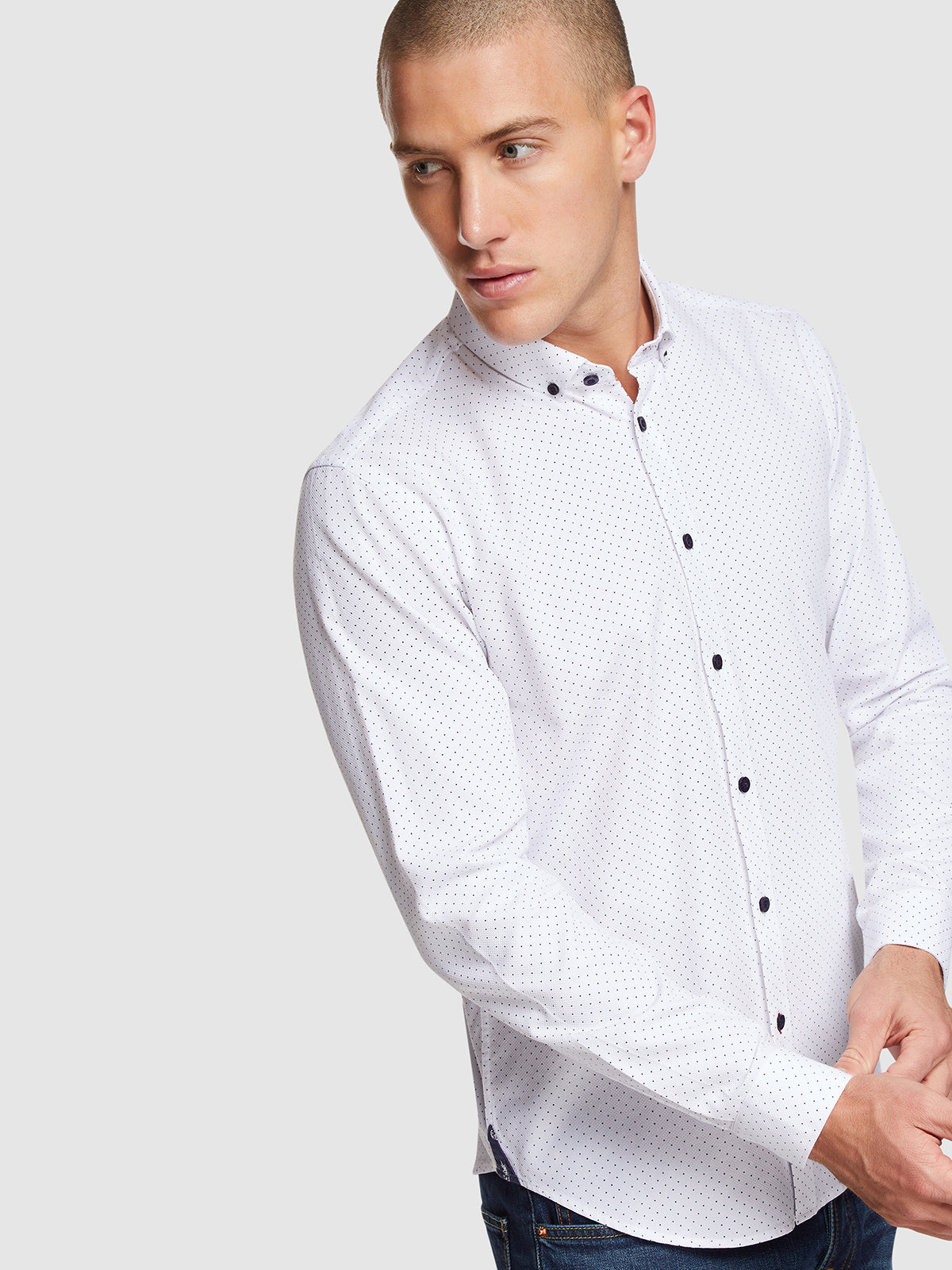 STRATTON SPOT PRINTED SHIRT WHITE/NAVY