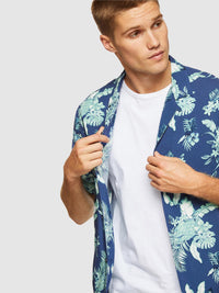 PUTNEY FLORAL PRINTED S/S SHIRT GREEN/BLUE