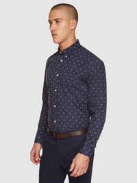 UXBRIDGE MOPPED BIKE PRINTED SHIRT NAVY/WHITE