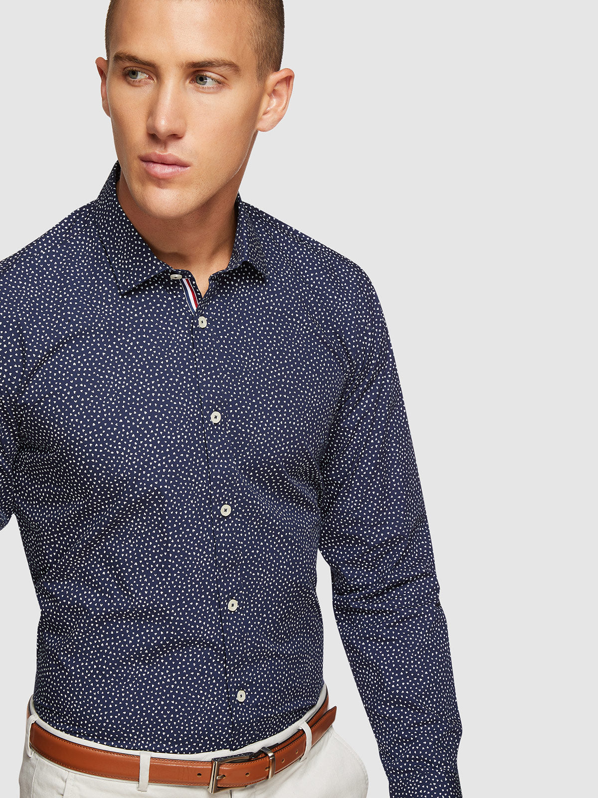 KENTON PRINTED REGULAR FIT SHIRT NAVY