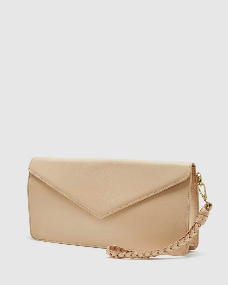 GENEVA LEATHER ENVELOP BAG NUDE
